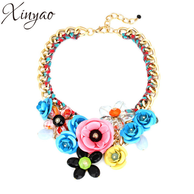 XINYAO 2017 Fashion Crystal Acrylic Flower Necklace Statement For Women Gold Plated Cuban Chain Necklace Collier Femme F10000