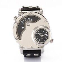 Nueva Original Oulm Relojes de Los Hombres con Doble Movt Banda de Cuero Negro de Cuarzo Relojes Deportivos Reloj Militar Relogio