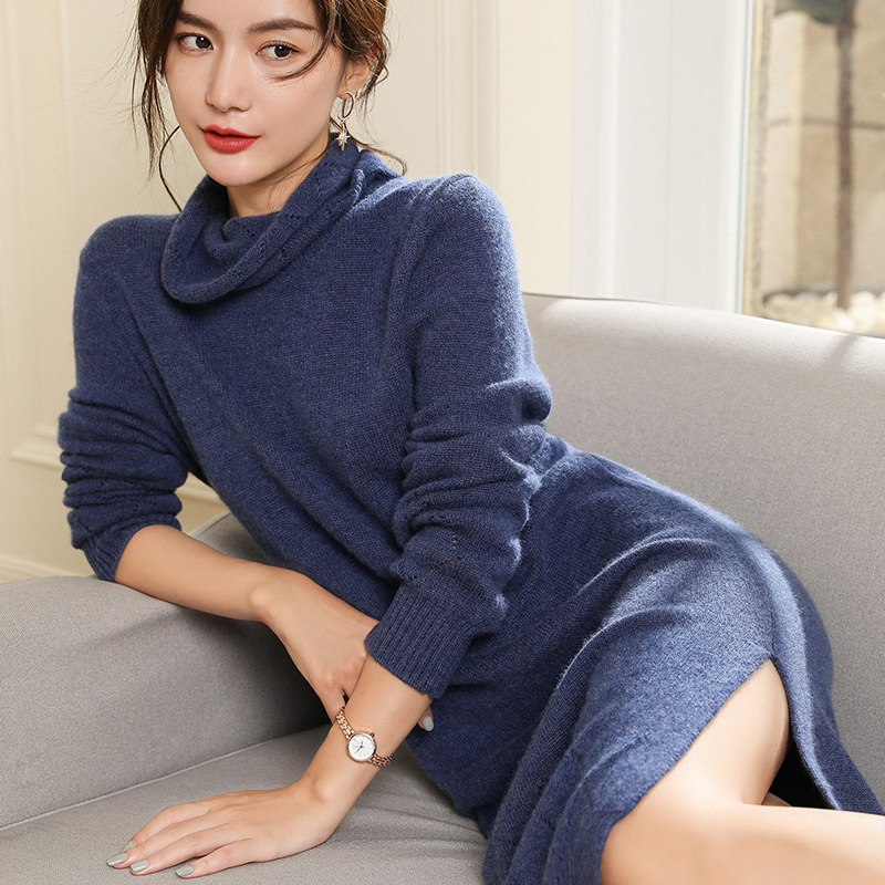 da3c0208e3 US $73.45 51% OFF|Women Sweater Dresses 100% Pashmina Knitting Jumpers  Turtleneck Long Style Thick Pullovers Winter New Arrival Pure Cashmere  Tops-in ...