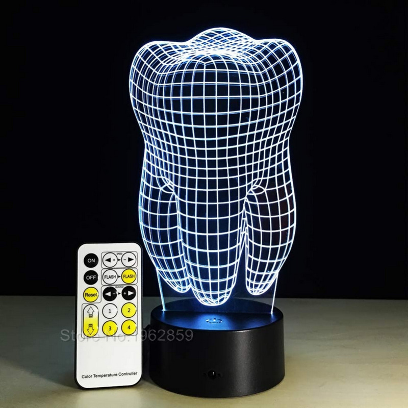 Teeth Type 3D Led Lamp Dental Creative Gift Colorful 3D Tooth Gradient Light Dental Clinic Artwork Artware Night Dental Shows
