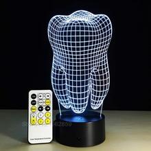 Tipo de lâmpada 3d, dental, presente criativo, colorido, 3d, luz degradê, luz para arte dental, clínica dental, mostra a noite