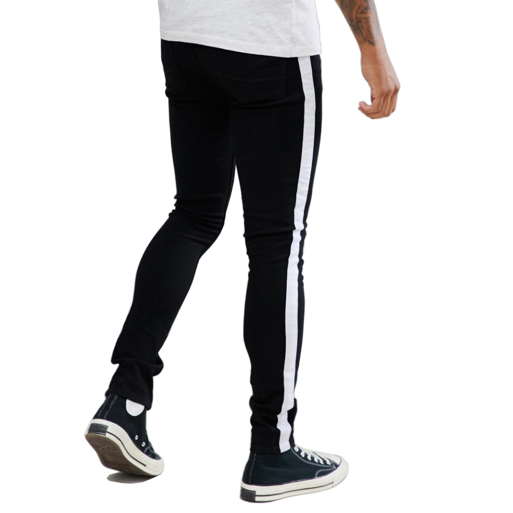 Men's Side White and Black Stripe Skinny Fashion Casual Pencil   Jeans   V1207-002