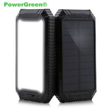 PowerGreen Solar Charger, Carabiner & LEDs Design 10000mAh External Battery Pack Solar Powerbank for LG Mobile Phones
