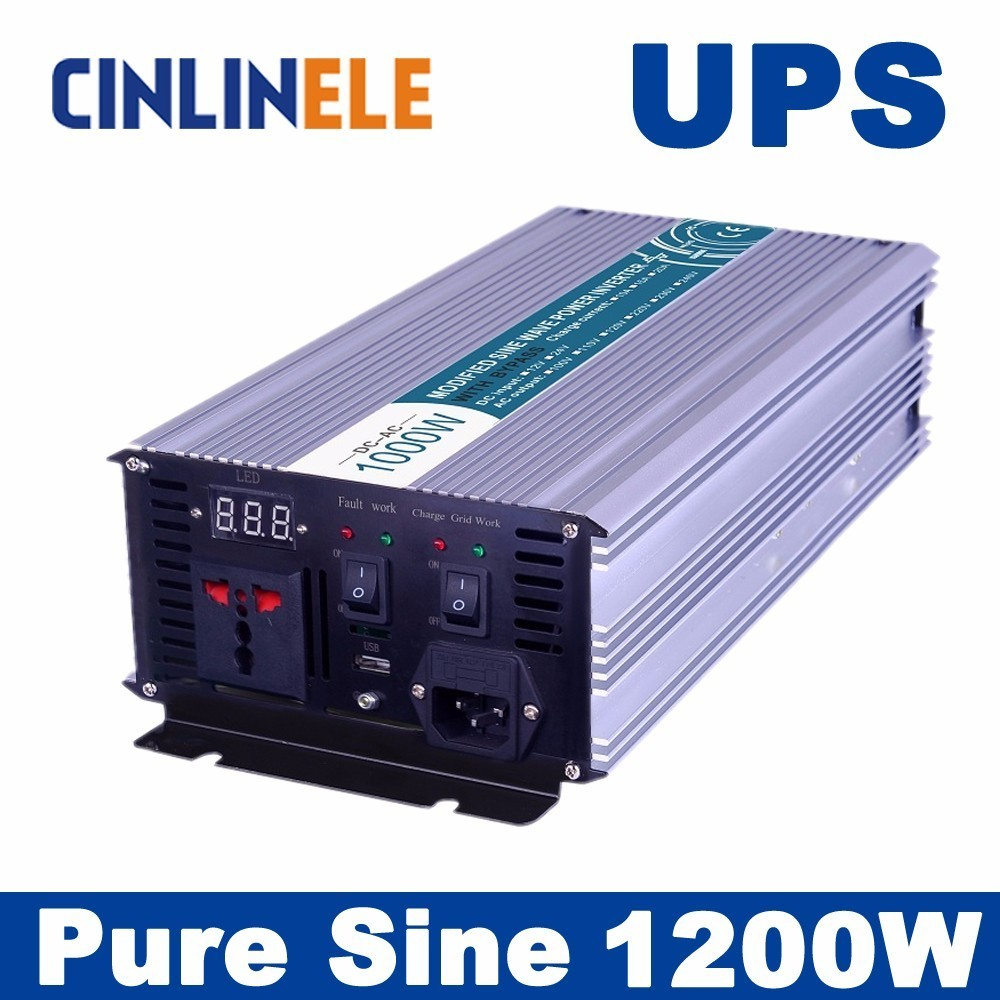 Universal inverter UPS+Charger 1200W Pure Sine Wave Inverter CLP1200A DC 12V 24V 48V to AC 110V 220V 1200W Surge Power 2400W