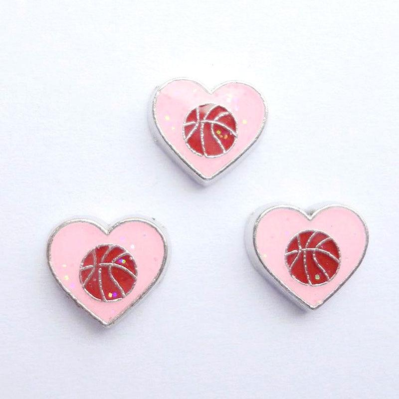 20 шт./лот DIY моды сплав розовые спортивные мячи сердечки амулеты для плавучий движущийся медальон на память - Окраска металла: 001