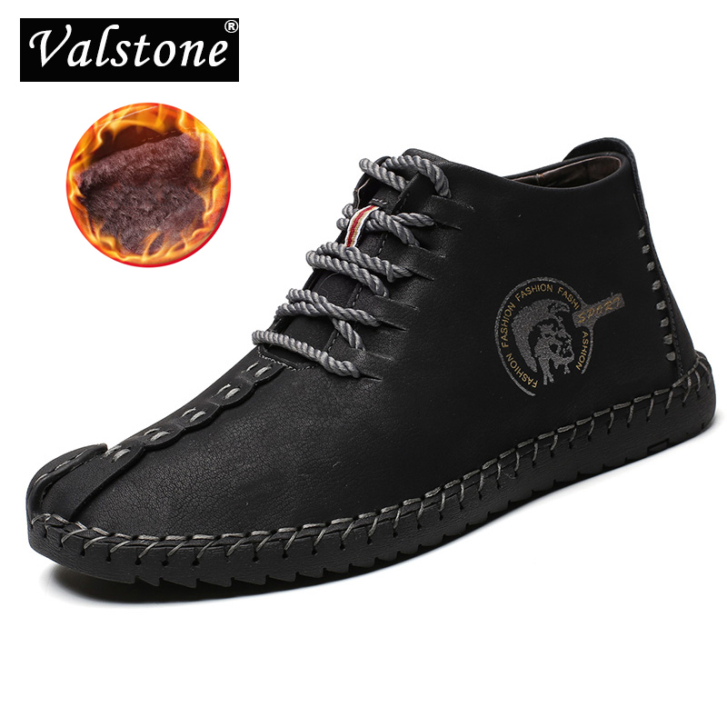 Valstone Hot Sale Winter Men's Leather Casual Sneakers Large Size 48 Vintage Frosty Boots High-Top Warm Shoes Khaki Black Golden