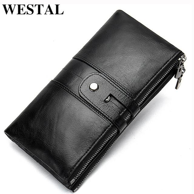 a5a096b5d WESTAL mujeres multifunción monedero de cuero genuino largo/Slim carteras  magia cartera monedero/cartera embrague 8560