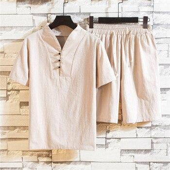 Men Casual Suits Summer Cotton linen Short Sets Tracksuit Round neck Male Outwear Sweatshirts Pure color T Shirt +Pants