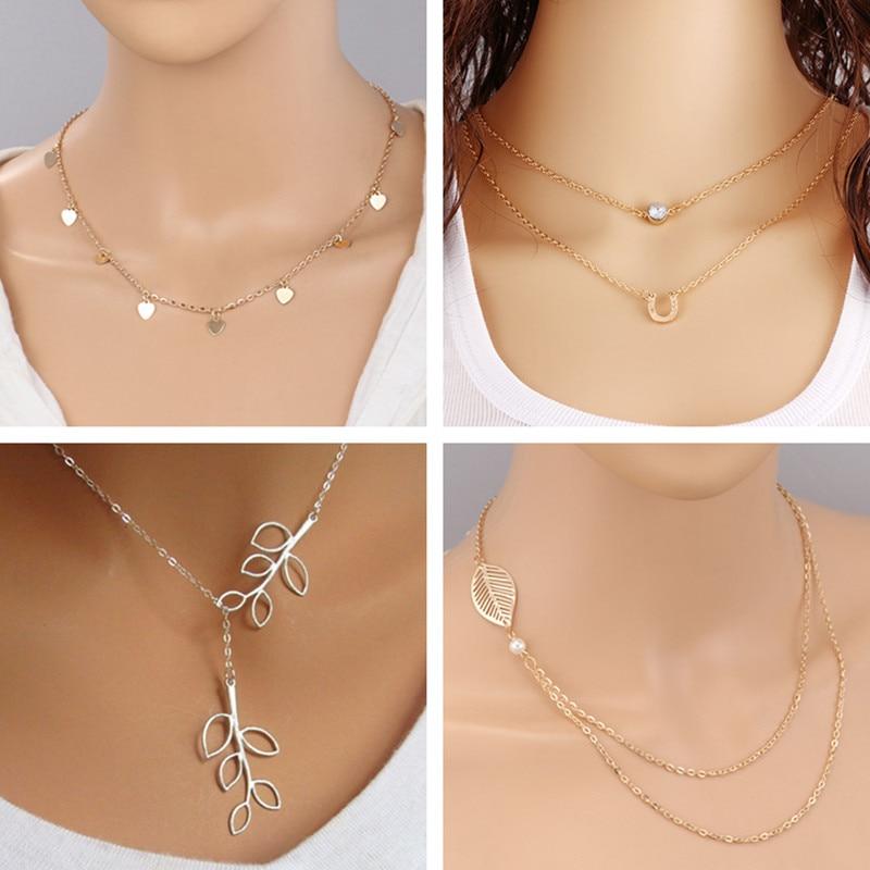 Women Fashion Gold//Silver Tone Multi Layer Chain Simple Pendant Necklace S