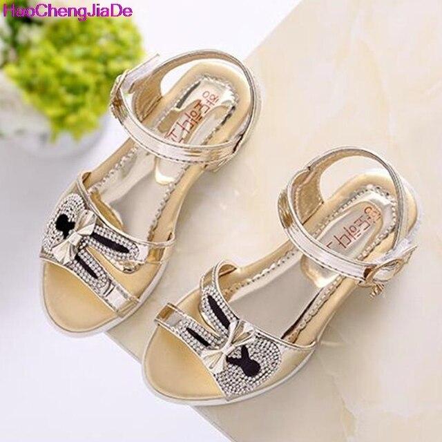 08e382b4c Nuevos Niños Zapatos de Verano Sandalias de Las Muchachas con la Ayuda de  Arco Princesa Rhinestone