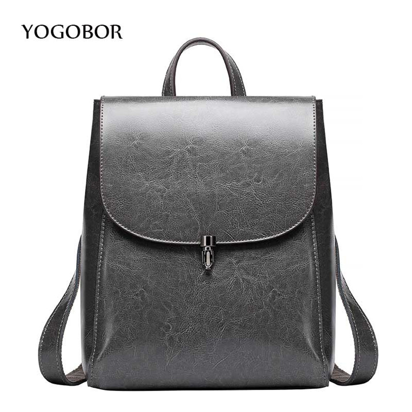 2017 YOGOBOR Backpack Women Genuine Leather Bag Women Bag Cow Leather Women Backpack Mochila Feminina School Bags for Teenagers miwind new backpack women school bags for teenagers mochila feminina women bag free shipping leather bags women leather backpack