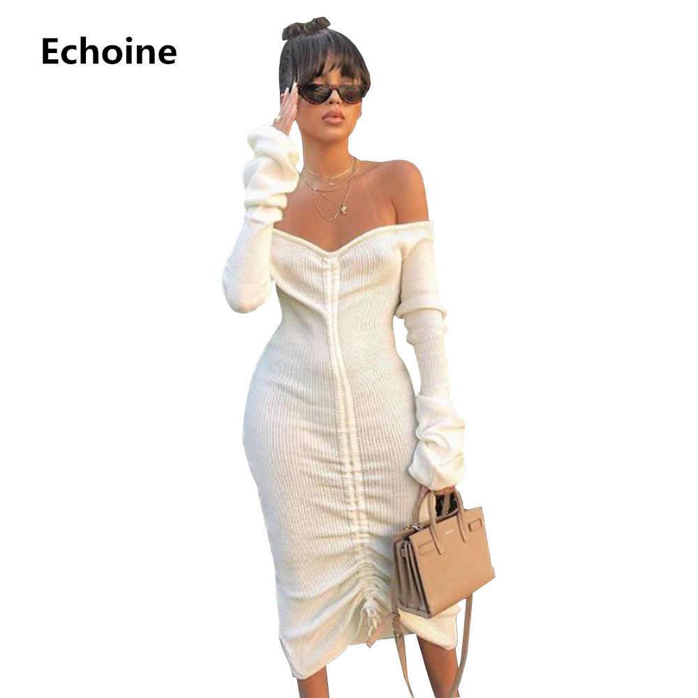 Women Off Shoulder Sexy Bodycon Party Dresses Long Sleeve Drawstring  Pencile Elegant Midi Dress Ribbed Knit Vestidos Woman Dresses    AliExpress