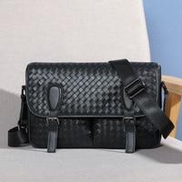 Wmnuo Brand Men Handbag Genuine Leather Cowhide Men Shoulder Crossbody Bag Messenger Bag 2018 Fashion Hand Weaving Travel Bag