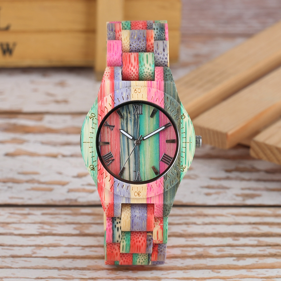 Unique Colorful Men Bamboo Watches Lovers Handmade Natural Wooden Bracelet Quartz Analog Luxury Wristwatches Ideal Gifts Items  (16) -