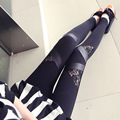 New spring autumn women's fashion ankle rose patchwork triangle lace leggings slim shinny punk leggings leather leggings Pants