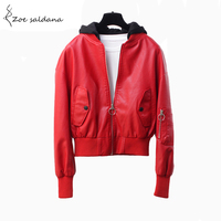 Zoe Saldana 2017 Autumn Pu Leather Jacket Women Long Sleeve Zipper Hooded Short Coats Punk Style