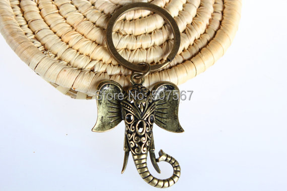 hot selling Wholesale ~SALE Sacred Elephant Keychain Bag Charm Yoga Accessories Aqua Blue Good Luck Party Favors Unique Gift