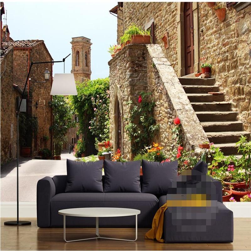 living wall background mediterranean building tv 3d beibehang flooring