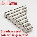 Dia.16mm/M16 Scews acabamento acetinado aço Inoxidável Publicidade Parafusos de Fixação Standoff Vidro Pin
