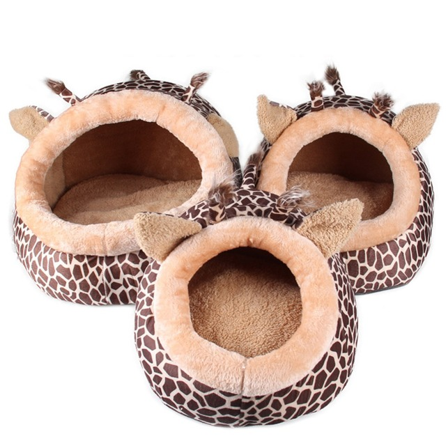 Soft Warm Dog House Leopard Pet Sleeping Bag House for Small Medium Dog Cats Pet Supplies Cat Products S/M/L 1