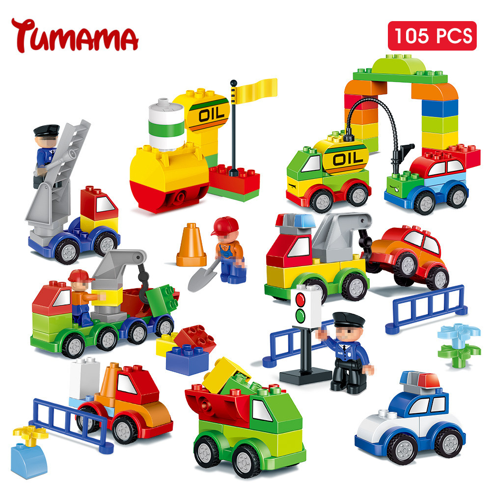 Big Size Building Blocks 105pcs Car Model Traffic Building Bricks Large Size Kids Educational Toys Compatible with Legoed Duplo qwz 39 65pcs farm animals paradise model car large particles building blocks large size diy bricks toys compatible with duplo
