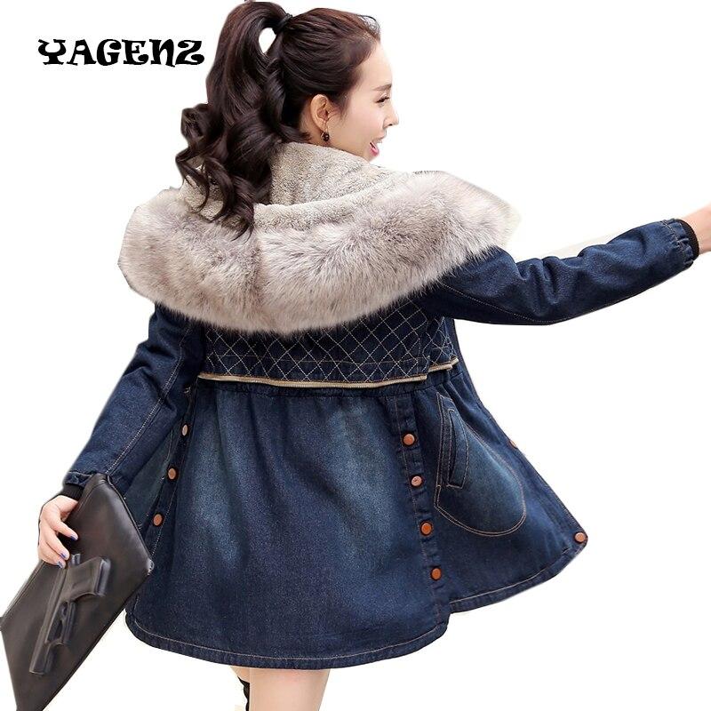 tout neuf 0c376 92c10 € 53.72 50% de réduction|Femmes long manteau femme coupe vent dames hiver  grande taille veste hiver femmes Denim veste Slim col en fourrure à capuche  ...