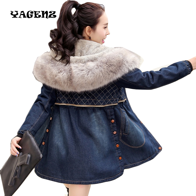 Femmes long manteau femme veste coupe-vent hiver Grande taille veste Hiver Femmes Veste En Jean Col De Fourrure À Capuche Manteau de Jeans