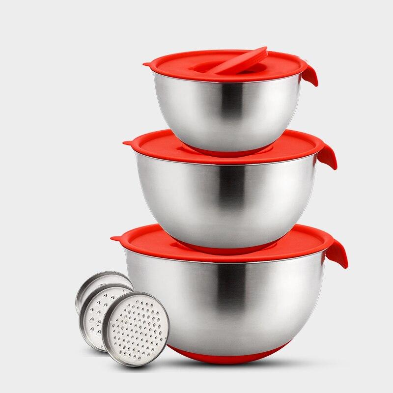 Tigelas de Aço Inoxidável Não-Slip DIY Bolo Salada de Pão Misturador Da Cozinha Ferramenta de Cozimento Cozinhar com Tampa Ralador de Alimentos recipiente