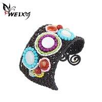 Weixy بوهيمية العرقية سوار للنساء عقدة حبل ملون الخرز اليدوية واسعة الإسورة خمر المجوهرات الإناث الملحقات
