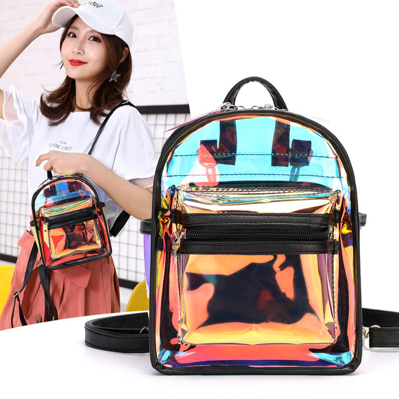 2019 Women Small Backpacks Travel Bag Mini Laser Women Girls Shoulder Bag School Backpack Holographic Backpack Mochila Sac A Dos