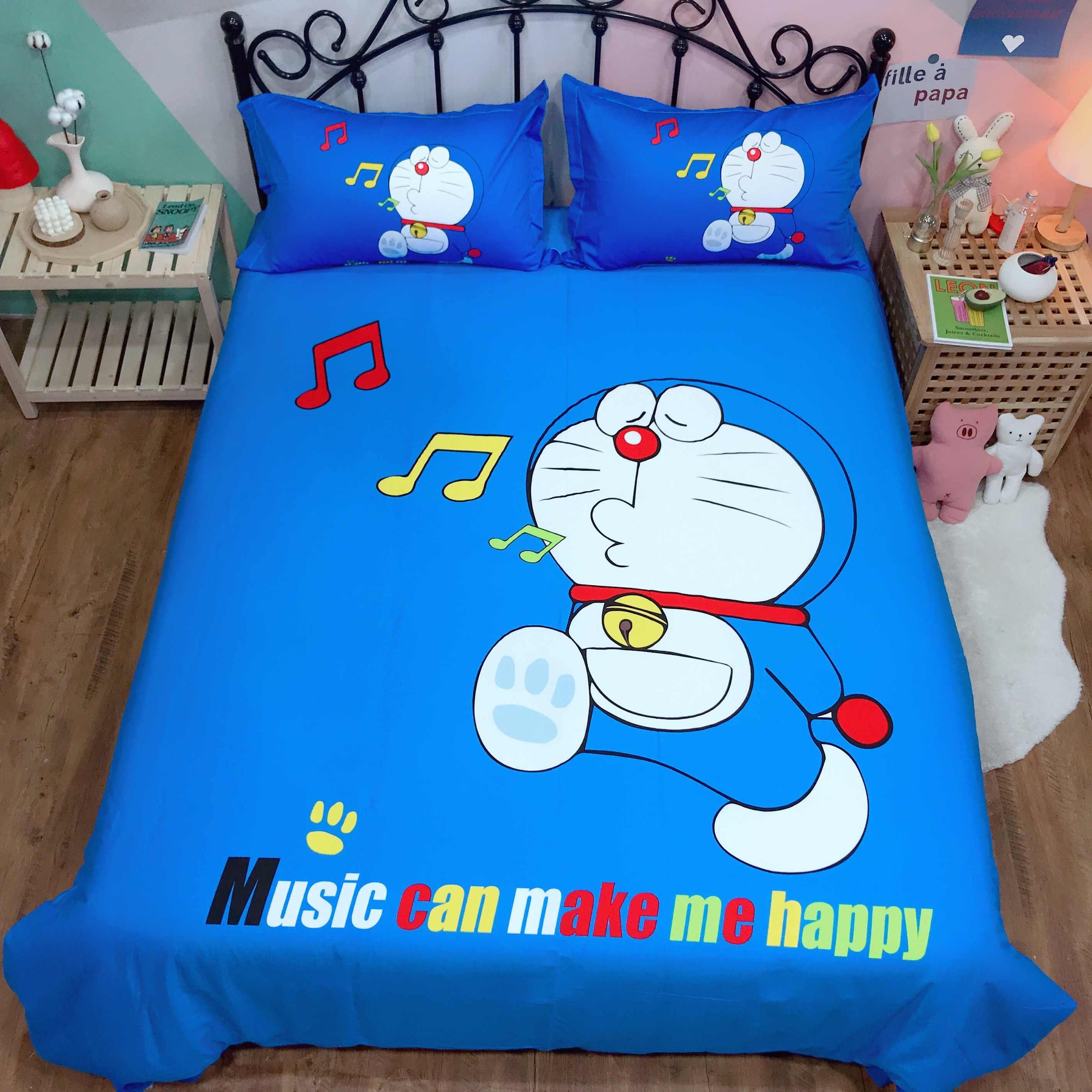 Anime Set di Biancheria Da Letto Bambini di Doraemon per bambini in Puro cotone trapunta copertura a due letti queen re sveglio Della Copertura del Duvet piatto Copriletto musica biancheria da letto