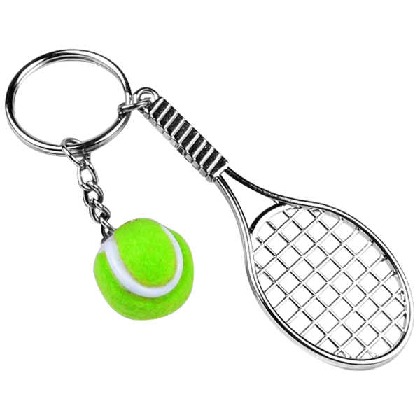 Hot Sale Creative Personality Simulation Tennis Ball Key Chain Silver Color Racket Pendant Key Rings Accessories For Women Men