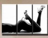 Ручная роспись холст сексуальная обнаженная девушка картина маслом настенные панно для Гостиная Домашний Декор 3 стеновые панели Art 12x32 хол...