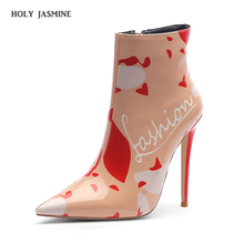 2019 New Autumn Winter Women Boots High Heel Ankle Boots for Woman Printed 12cm Mental Stiletto Heel Print Pointed Toe Boots