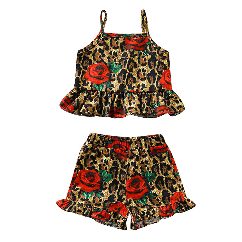 04da0d4a58c US $4.78 13% OFF|toddler baby girl summer short sleeve clothes set 2pcs  Baby Girls Sleeveless Leopard Print Short Tops Pants clothes set-in  Clothing ...