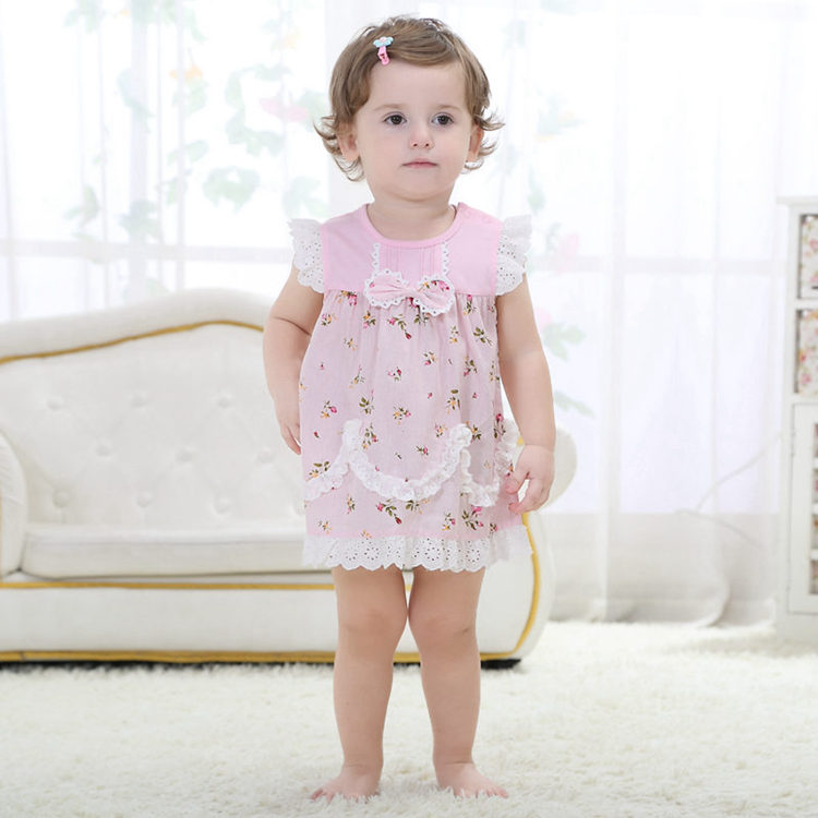 Newborn Infant Baby Girls Dresse Cotton Pink Fashion Baby