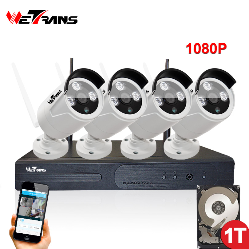 Wireless Camera Security System 4CH Wifi NVR Kit Plug and Play P2P 2.0 MP 1080P 20m Night Vision 4 Camera DVR Surveillance Kit