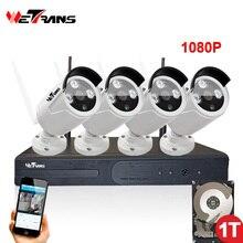 Купить с кэшбэком Wireless Surveillance kit Camera Kit 4CH Plug Play P2P Waterproof 2Megapixel HD 1080P 20m Night Vision CCTV Camera System