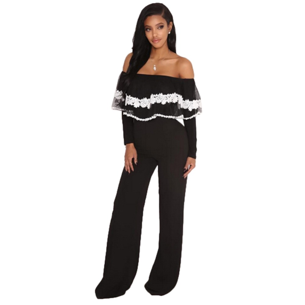 6485fa4f6e6 Black Lace Ruffle Overlay Strapless Long Sleeve Jumpsuit Fashion Women  Color Patchwork Off Shoulder Wide Leg Catsuit Plus Size
