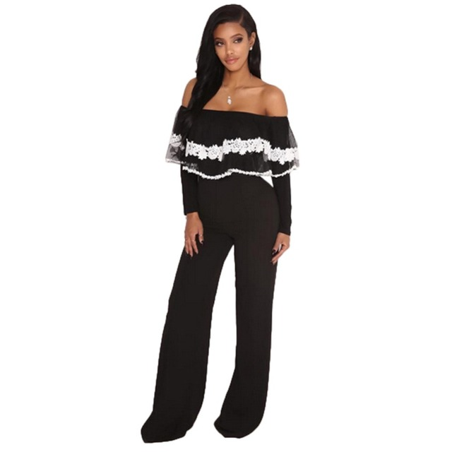 54850610d0ee Black Lace Ruffle Overlay Strapless Long Sleeve Jumpsuit Fashion Women  Color Patchwork Off Shoulder Wide Leg Catsuit Plus Size
