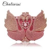 Новый животных Радуга Лебедь Форма клатч Для женщин вечерняя сумочка; BS010 роскошный кристалл сцепления рук сумки Bling кошелек Свадьба посылк