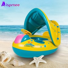 Adjustable Safe Inflatable Baby Swimming Ring Pool Infant Swimming Pool Float Sunshade Seat Baby Bathing Circle Inflatable Wheel 0 3 years old baby inflatable flamingo swan pool float with sunshade ride on swimming ring safe seat water toys infant circle