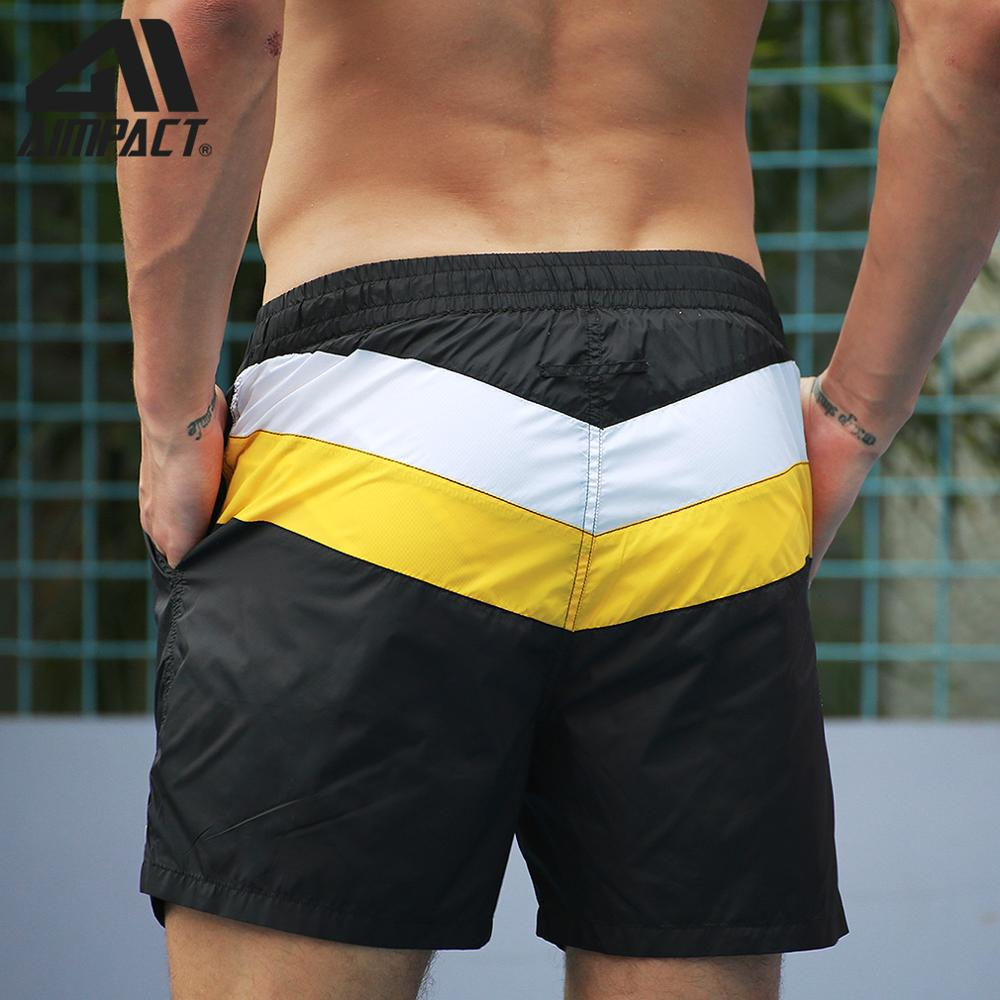 Aimpact Fast Dry Men's Board Shorts With Lining Sexy Patchwork Drawstring Surf Swim Trunks Male Beachwear Sport Running Shorts