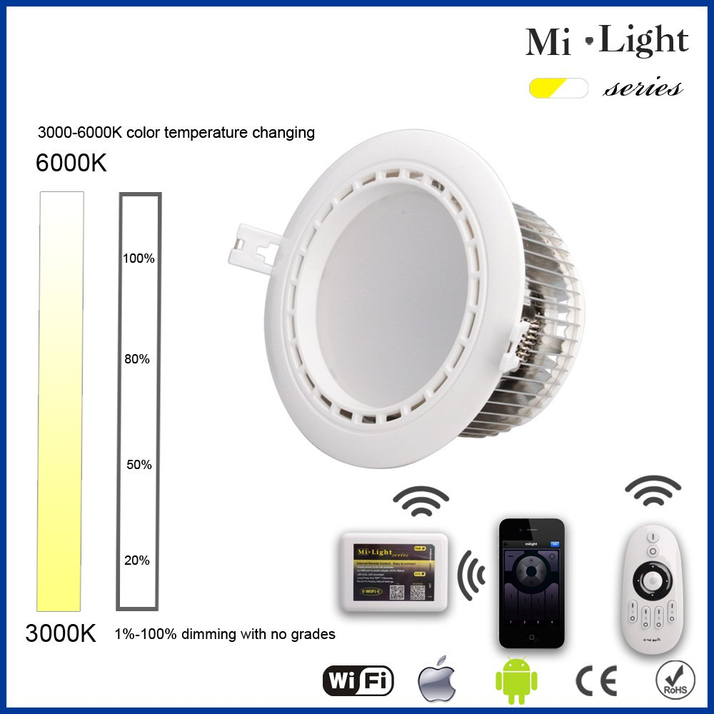 Milight 2.4G 6W/12W Downlight Wireless LED Dimmable Downlight Dual White WW/CW Dimmable LED Smart Downlight mantra downlight