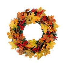 HOYVJOY Autumn Maple Leaf Wreath Vitality Series Handmade 40cm for Front Door/Floral Wall/Room/Gift/Wedding Decor