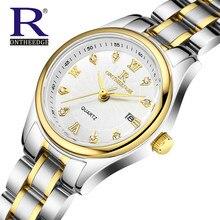 RON de Moda Reloj de Cuarzo Relogio Feminino Relojes de Las Mujeres Vestido de Diamantes Marca de Lujo de Oro Reloj de Pulsera montre femme