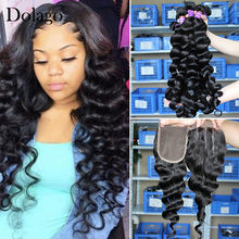 Loose Wave Bundles With Closure 3 Human Hair Weave Bundles With Lace Closure 4 Dolago Brazilian Virgin Hair Products Extension(China)