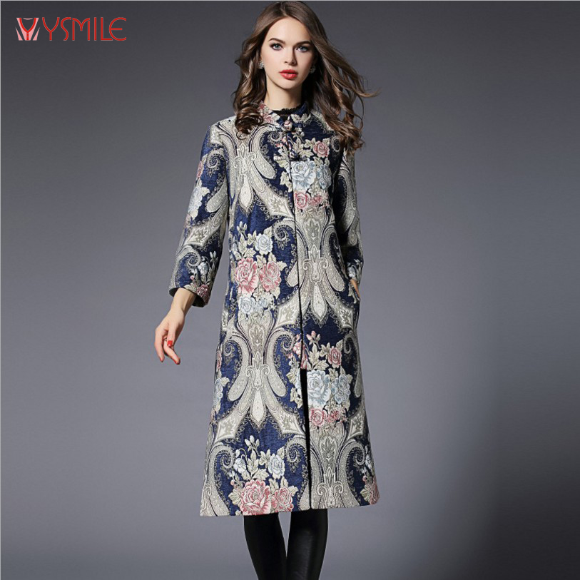 YSMILE Y Chinese Style Women Long Trench Coat Fashion Dobby Autumn And Winter Wide Waisted Loose Trench Coats Puls Size 5XL