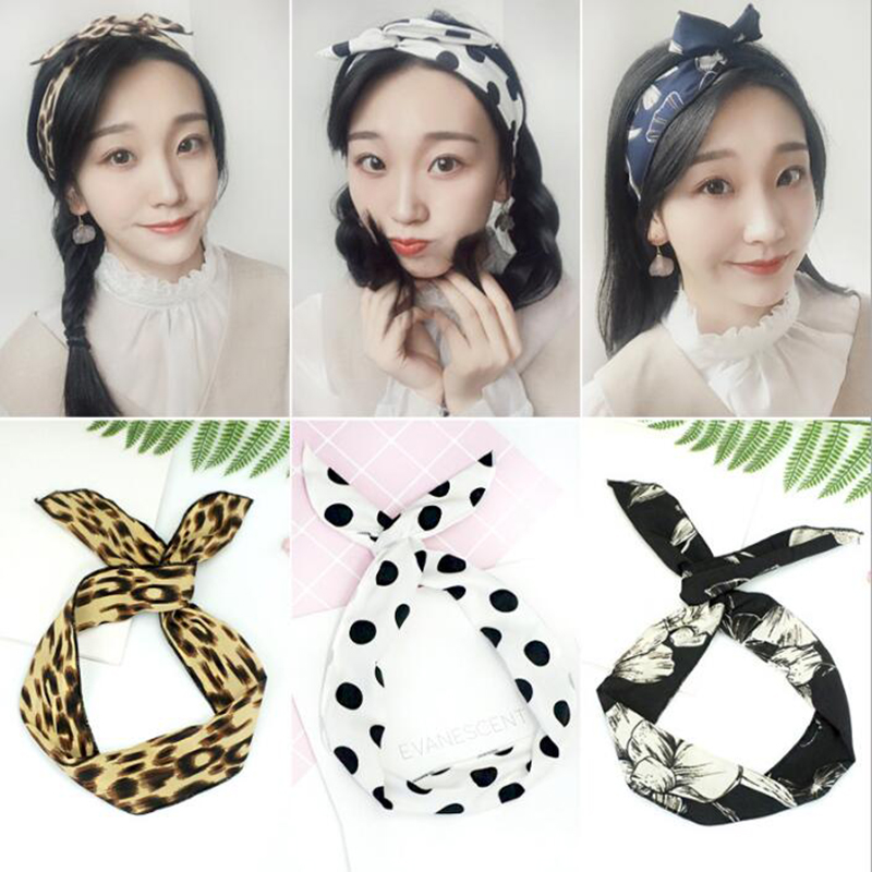 Cute Solid Girls Headwear Cute Ear Rabbit Metal Wire DIY Bow Headband Large Hair Bands Clips 34 Colors Women Hair Accessories in Women 39 s Hair Accessories from Apparel Accessories