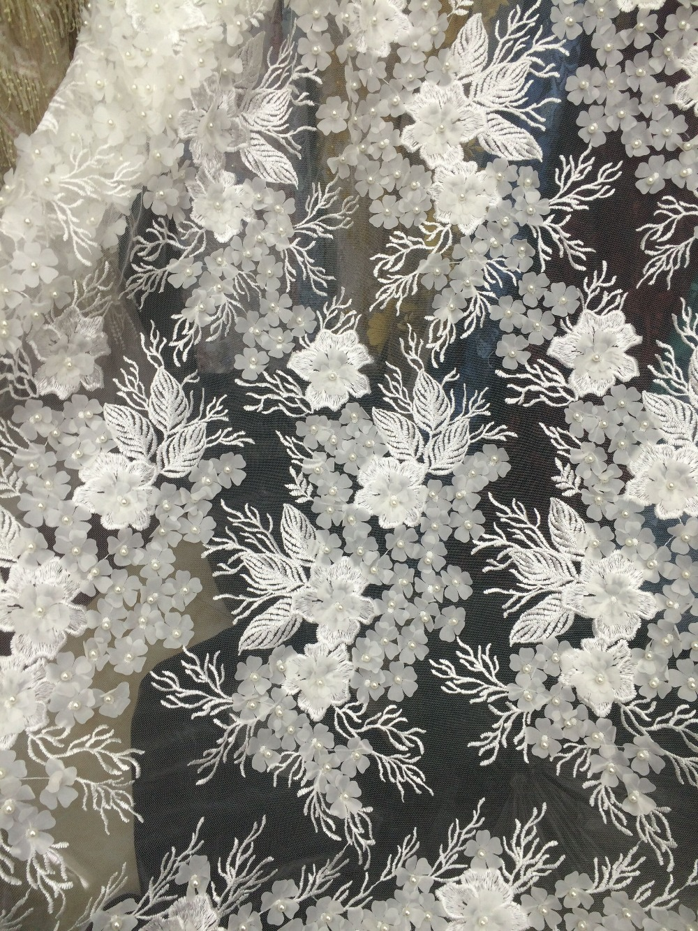 3D Beaded flower Lace Fabric Fashion LJY 102946 African Lace Fabric Tulle African French Lace Fabric